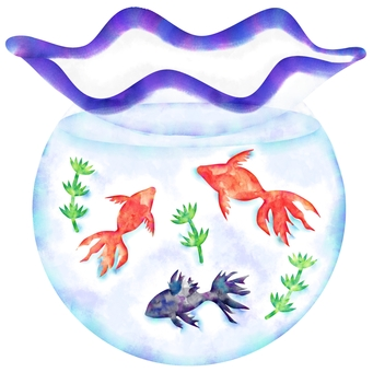 Watercolor of a fish bowl (delicate)