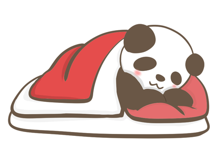Sleeping panda with futon
