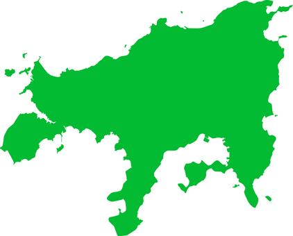 小豆島_剪影_綠色