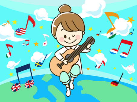 A guitar playing around the world