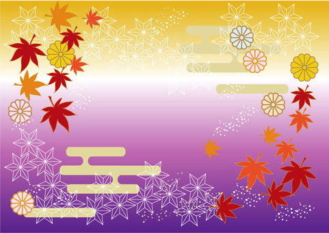 Kimono style illustrations autumn