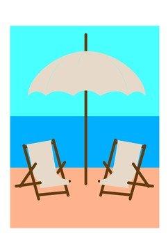 비치 파라솔과 의자