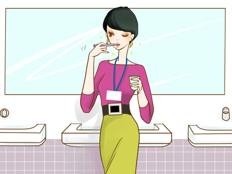 Woman brushing teeth in 13 office