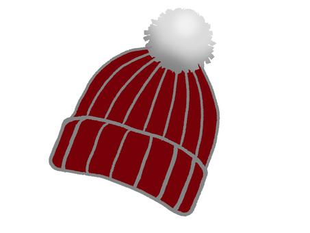 보르도 색상의 방울이 달린 니트 모자