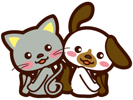 Illustration of a good dog and a cat