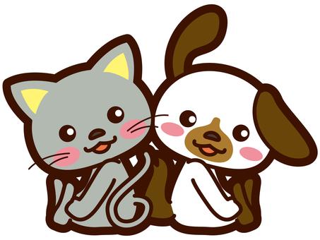 一只好狗和一只猫的插图