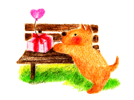 Dog and bench (color pencil drawing)