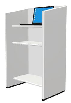 Podium and laptop