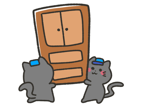 Black cat carrying big furniture