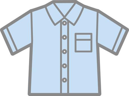 Short-sleeved shirt (blue)