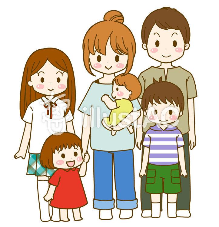 子だくさん家族のイラスト