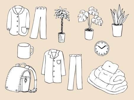 Life miscellaneous goods (line drawing)
