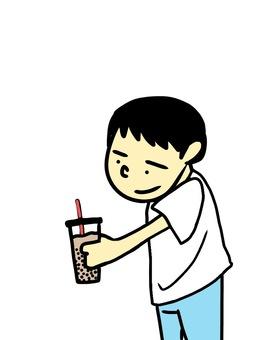 Tapioca drink and boy
