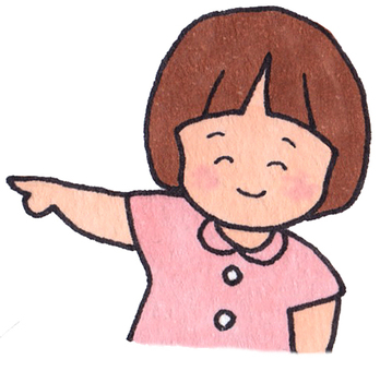 A girl pointing to a finger