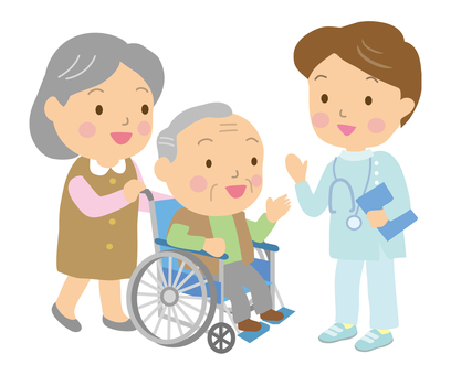Wheelchair older couple and male doctor