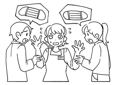 [Line drawing] A salesclerk who has trouble inquiring about a mask