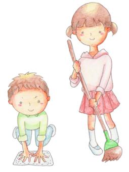 Children cleaning