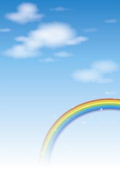 Blue sky and rainbow (vertical)