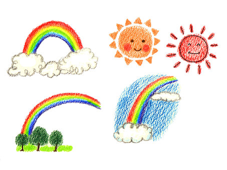 Rainbow and sun hand drawing