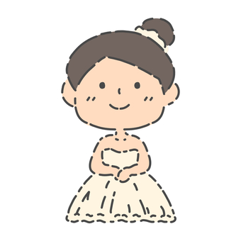 Material illustration of a woman in a wedding dress