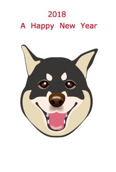 2018 New Year's Card Black Shiba Inu