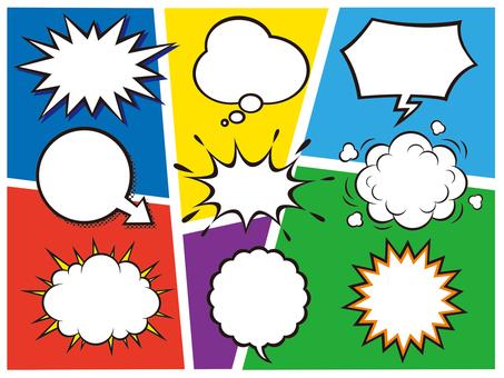 American comic speech balloon illustration set