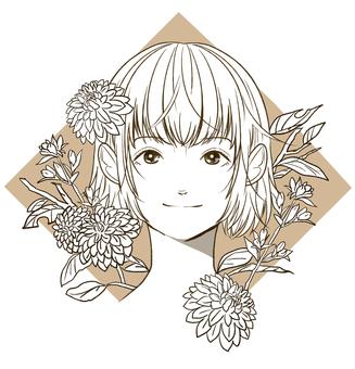 秋花과 여성 흑백