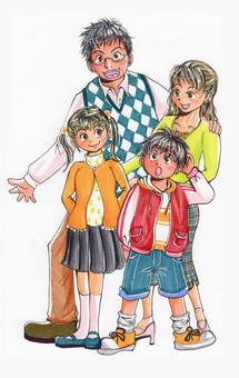 가족 4 명