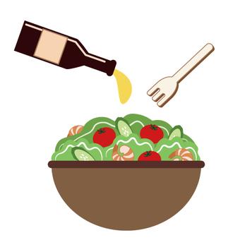 Vegetable salad (put on dressing)