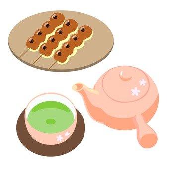 Tea and Mitarashi dumplings