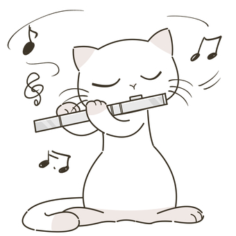 Cat playing silver flute