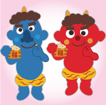 Blue demon and red villa who eat Fukuge