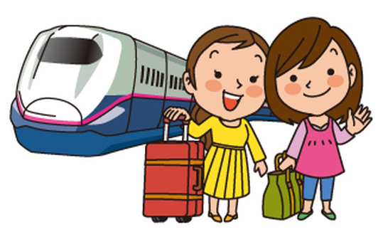 Travel between girls on a Shinkansen bullet train