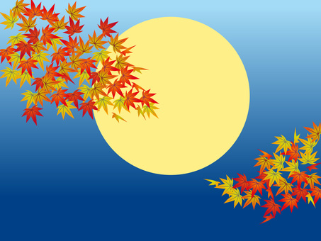 Full moon and autumn leaves