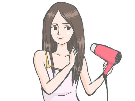 Woman putting a hair dryer