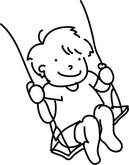 A boy riding a swing