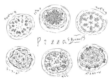 披薩[線條圖]