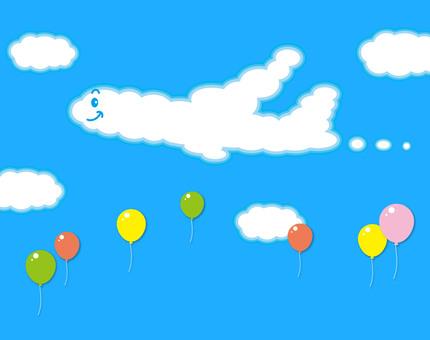 비행기 구름 풍선 일러스트