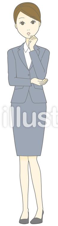 D女性スーツ-ふむふむ-全身のイラスト