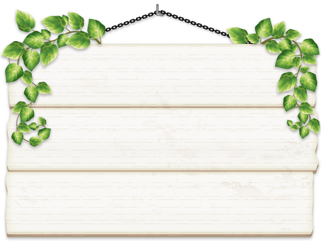 Hanging signboard for ivy and white tree (white background)