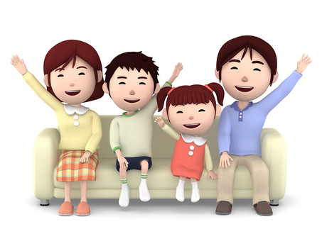 家庭在沙發上的家庭成員06
