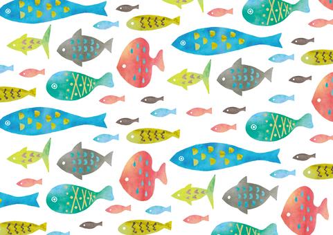 Watercolor fish texture