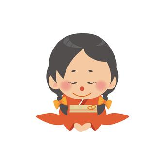 A woman in kimono (Koza / Mitsuami)