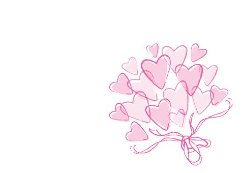 하트 부케 핑크