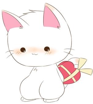 수줍게 선물을 주려고하는 고양이