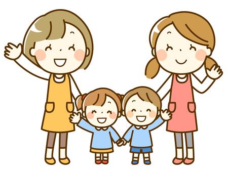 Nursery teacher and children