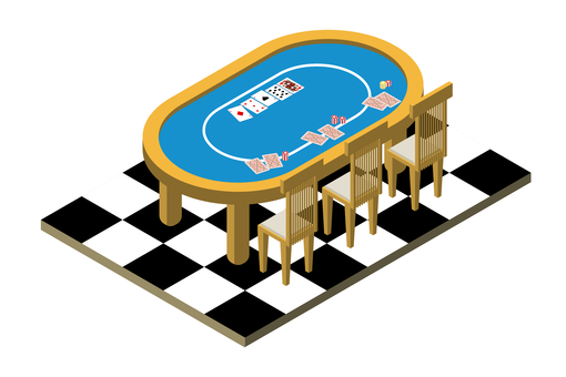 Isometric view of poker table