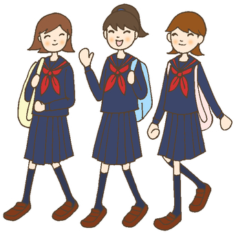 High School Girls Sailor Suits Engine
