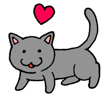 Heart and gray cat
