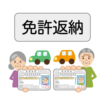 Image of returning license of elderly person